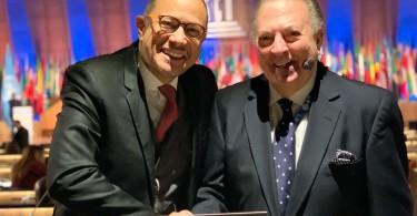 El embajador dominicano ante la UNESCO, José Antonio Rodríguez y el ministro de Cultura, Eduardo Selman, participan en la sesión de la UNESCO este lunes 18 de noviembre