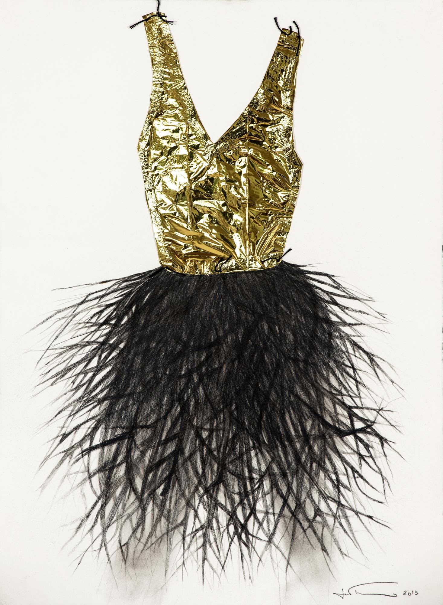 Tríptico Hábitos del bosque blanco, negro y dorado, artista Inés Tolentino.